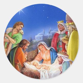 Vintage nativity x-mas classic round sticker