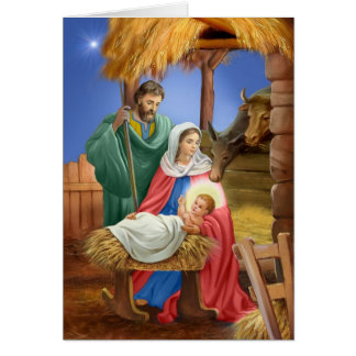 Vintage nativity x-mas design card
