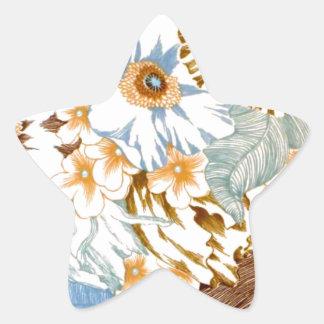 Vintage Natural Blue Floral Elaborate Design Star Stickers
