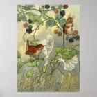 Vintage, Nature Art Bird, Mouse Poster