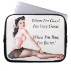 Vintage Naughty Ballerina Pin Up Girl Laptop Sleeve