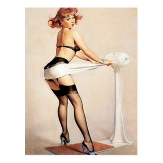 Vintage Naughty Fitness Guru Pin Up Girl Postcard