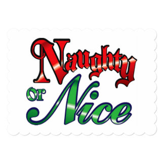 Vintage Naughty or Nice 13 Cm X 18 Cm Invitation Card