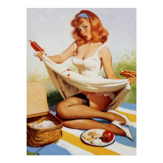 Vintage Naughty Picnic Pin Up Girl Poster