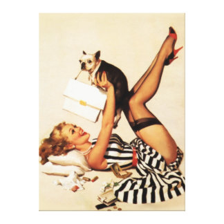 Vintage Naughty Puppy Love Pin Up Girl Canvas Gallery Wrap Canvas