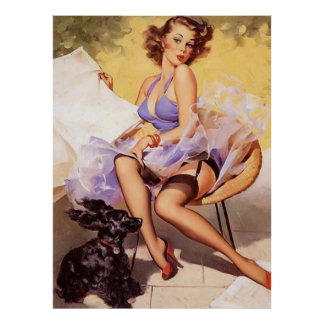 Vintage Naughty Violet Pin Up Girl Poster