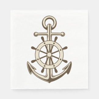 Vintage Nautical Anchor & Ship Wheel Brown Tan Paper Napkins