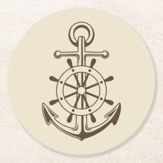 Vintage Nautical Boat Anchor & Ship Wheel Tan Round Paper Coaster
