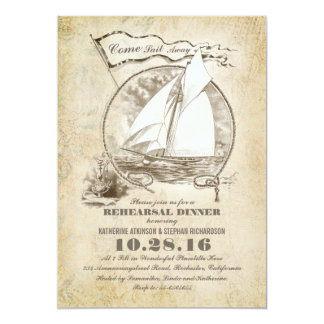 Vintage nautical boat rehearsal dinner invite