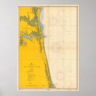 Vintage Nautical Chart Amelia Island St. Augustine