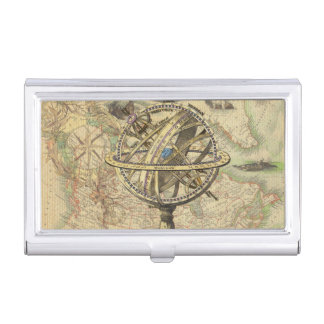 Vintage Nautical Compass and Map Business Card Holder