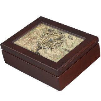 Vintage Nautical Compass and Map Keepsake Box