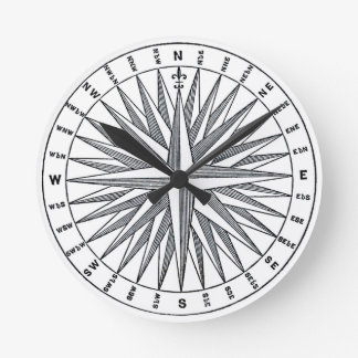 Vintage Nautical Compass Design Round Clock