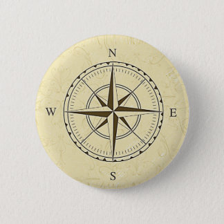 Vintage Nautical Compass Rose Ivory 6 Cm Round Badge