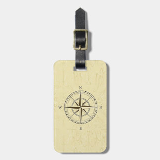 Vintage Nautical Compass Rose Ivory Bag Tag