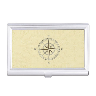 Vintage Nautical Compass Rose Ivory Business Card Holder