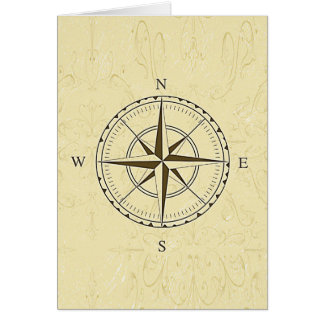 Vintage Nautical Compass Rose Ivory Card
