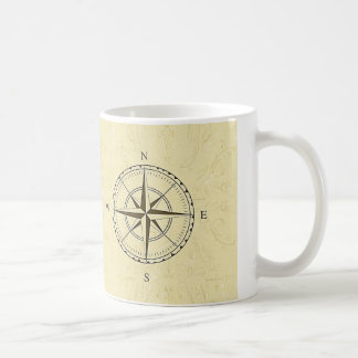 Vintage Nautical Compass Rose Ivory Coffee Mug