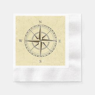 Vintage Nautical Compass Rose Ivory Disposable Serviette