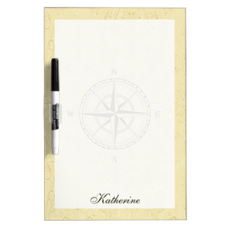 Vintage Nautical Compass Rose Ivory Dry-Erase Whiteboard