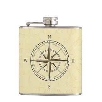Vintage Nautical Compass Rose Ivory Flasks