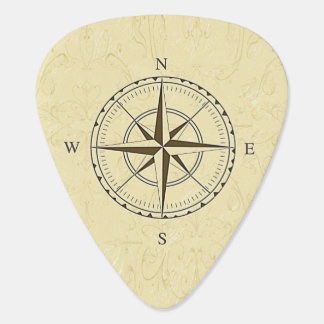 Vintage Nautical Compass Rose Ivory Guitar Pick