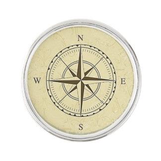 Vintage Nautical Compass Rose Ivory Lapel Pin