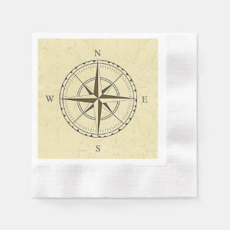 Vintage Nautical Compass Rose Ivory Paper Napkins