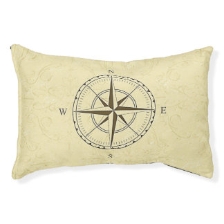 Vintage Nautical Compass Rose Ivory Pet Bed