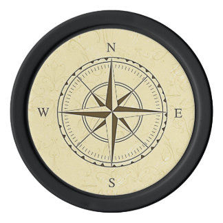 Vintage Nautical Compass Rose Ivory Poker Chip Set