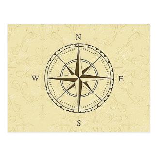 Vintage Nautical Compass Rose Ivory Postcard
