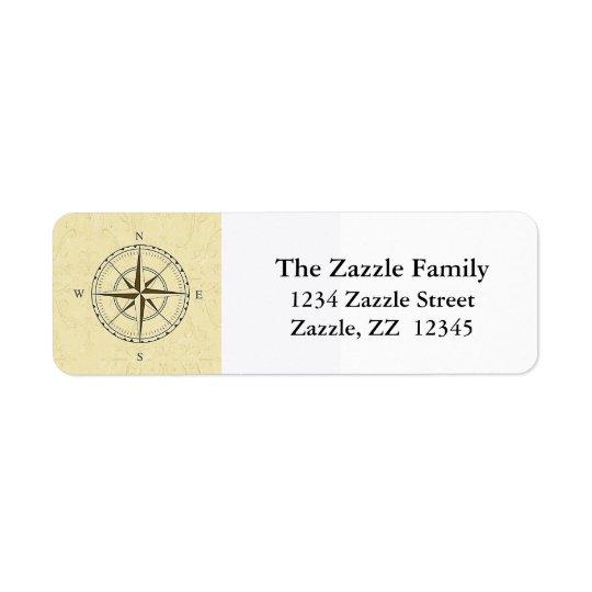 Vintage Nautical Compass Rose Ivory Return Address Label