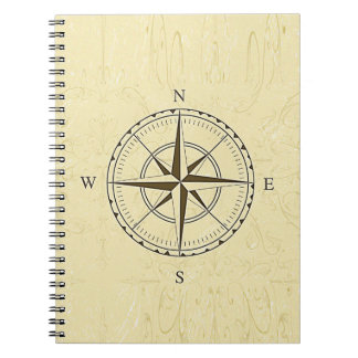 Vintage Nautical Compass Rose Ivory Spiral Notebook