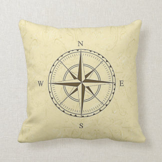 Vintage Nautical Compass Rose Ivory Throw Throw Pillow