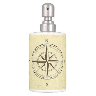 Vintage Nautical Compass Rose Ivory Toothbrush Holder