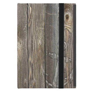 Vintage Nautical Distressed Anchor on Driftwood iPad Mini Covers