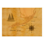 Vintage Nautical Florida Keys Map Poster
