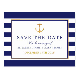 Vintage Nautical Gold Anchor Wedding Save The Date Postcard