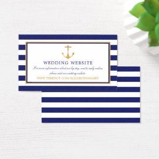 Vintage Nautical Gold Anchor Wedding Website Business Card
