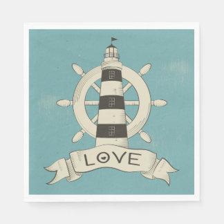 Vintage Nautical Lighthouse & Ship Wheel Blue Disposable Napkins