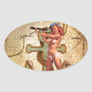 Vintage Nautical Map Anchor Pin Up Girl Sailor Oval Sticker