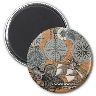 Vintage Nautical Octopus Sailing Art Print Graphic Magnet