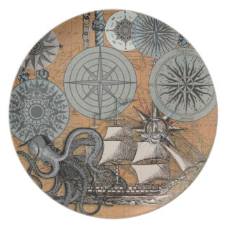 Vintage Nautical Octopus Sailing Art Print Graphic Plate