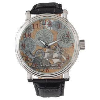 Vintage Nautical Octopus Sailing Art Print Graphic Watch