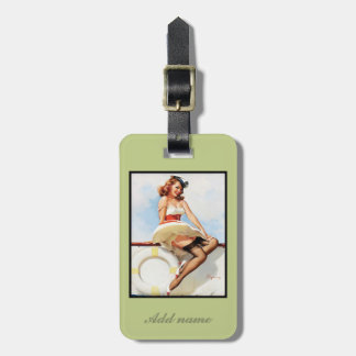 Vintage nautical pin-up with embossed monogram luggage tag