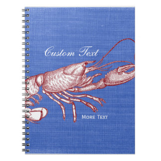 Vintage Nautical Red Lobster Custom Beach House Note Book