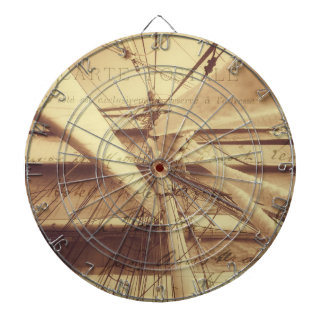 Vintage Nautical Sailing Typography In Sepia Dartboard