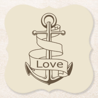 Vintage Nautical Ship Anchor Tan Love Wedding Paper Coaster