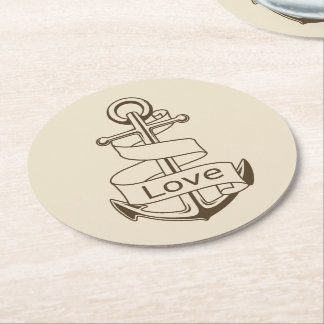 Vintage Nautical Ship Anchor Tan Love Wedding Round Paper Coaster