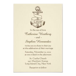 Vintage  Nautical Wedding Ship Anchor Brown Tan Card